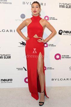 Hailey Baldwin Sexy Slit High Neck Red Slim Prom Dress Oscars 2016