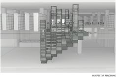 Hunt Library Addition: Sectional Perspective Rendering Iteration #kerrianfrance #48105-S15