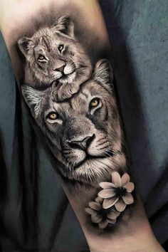 Lion Cub Tattoo, Lion And Lioness Tattoo, Cubs Tattoo, Lion Head Tattoos, Scary Tattoos, Dope Tattoos, Lioness Tattoo Design, Tattoo For Son, Tattoos For Your Son