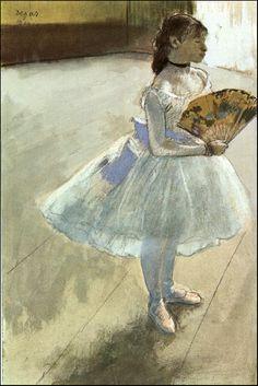 Dancer with a Fan - Edgar Degas Completion Date: 1879 Style: Impressionism Genre: genre painting Technique: pastel Gallery: Private Collection Pierre Auguste Renoir, Edgar Degas, Degas Ballerina, Manet, Degas Paintings, Degas Drawings, French Impressionist Painters, Art Français, Art Ancien