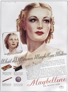 Movie star Anita Louise in a 1938 Maybelline ad.