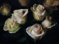 Sadie Valeri, White Roses, oil on linen, 9x12 in