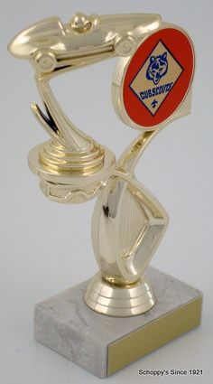 Pinewood Derby Trophy with Cub Scout Emblem