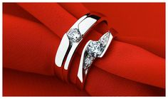 Cheap Couple's Matching CZ Promise Rings Set for Him and Her in Sterling Silver