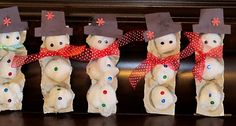 egg carton snowmen - how cute