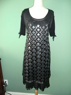 GORGEOUS NWT 420$ SAVE THE QUEEN 2 PIECE BLACK COCKTAIL DRESS FROM ITALY LARGE #SavetheQueen #Sheath #Cocktail