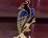 Enameled Peacock Brooch