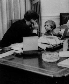 March President Kennedy is on the phone with Jackie, while Caroline waits. Los Kennedy, Caroline Kennedy, John F Kennedy, Sweet Caroline, Familia Kennedy, John Junior, Career Inspiration, John Fitzgerald, Jfk