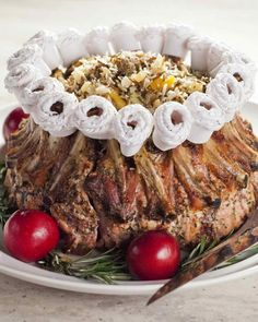 Crown Roast of Pork with Wild Rice Stuffing-Martha Stewart Rice Stuffing, Stuffing Recipes, Pork Recipes, Cooking Recipes, Gourmet Cooking, Rib Roast, Pork Roast, Holiday Recipes, Dinner Recipes