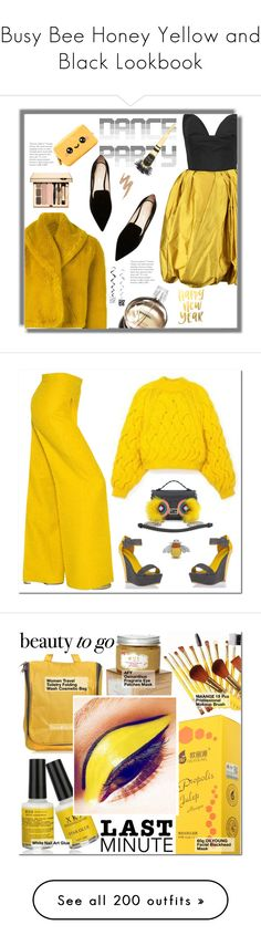 """""""Busy Bee Honey Yellow and Black Lookbook"""" by yours-styling-best-friend ❤ liked on Polyvore featuring yellow, black, hot, bee, bumblebee, Oscar de la Renta, Jean-Paul Gaultier, Nicholas Kirkwood, Urban Decay and Chanel"""
