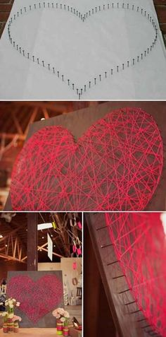 So cute and could actually leave up all year valentine day crafts, string crafts, diy valentine's day, heart art, valentines day decorations, valentine decorations, wedding colors, string art, white board