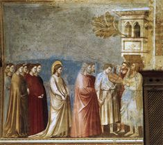 Giotto Di Bondone Scenes from the Life of the Virgin: Wedding Procession (Cappella Scrovegni (Arena Chapel), Padua) hand painted oil painting reproduction on canvas by artist Renaissance Kunst, Italian Renaissance, Giorgio Vasari, Fra Angelico, Wedding Painting, Italian Painters, Henri Rousseau, Oil Painting Reproductions, Italian Art