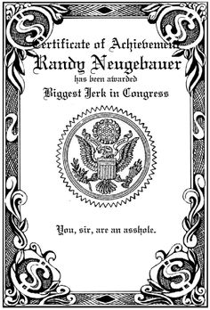 """Today's """"Biggest Jerk in Congress"""" winner: Randy Neugebauer who forced a U.S. park ranger to apologize for doing her job 