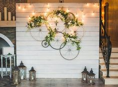 Great Floral Ideas for Your Wedding and Reception - Best Wed .- Great Floral Ideas for Your Wedding and Reception – Best Wedding Planning Tips Wall decoration, bicycle tires, flowers, fairy lights - Deco Champetre, Deco Floral, Floral Design, Wedding Pinterest, Fairy Lights, Wall Design, Rustic Wedding, Bicycle Wedding, Church Wedding