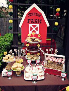 "Photo 1 of Barnyard/Farm / Birthday ""Barnyard Birthday Dessert Table"" Farm Animal Party, Farm Animal Birthday, Farm Birthday, First Birthday Parties, Birthday Party Themes, First Birthdays, Birthday Ideas, Birthday Banners, Birthday Invitations"