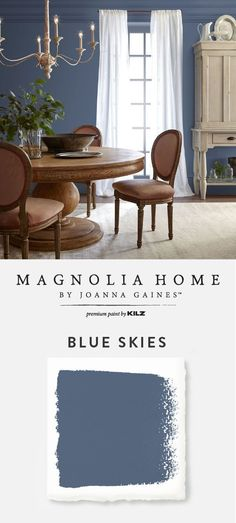 This elegant dining room features a fresh coat of Blue Skies from the Magnolia H. Dining Room Paint Colors, Dining Room Blue, Elegant Dining Room, Bedroom Paint Colors, Dining Room Walls, Paint Colors For Home, Living Room Paint, House Colors, Magnolia Paint Colors