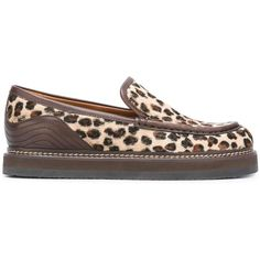 See By Chloé leopard print 'Christie' loafers (2,665 CNY) ❤ liked on Polyvore featuring shoes, loafers, brown, brown leather loafers, see by chloe shoes, leather shoes, pattern leather shoes and stitch shoes