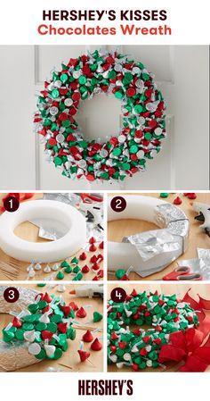 Deck your door with something a little sweet this holiday season! Learn how to recreate this fun and easy Holiday inspired HERSHEY'S KISSES Chocolates Wreath craft today and have a Merry Christmas!