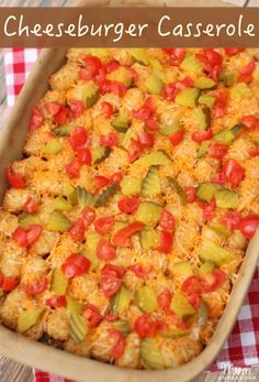Easy cheeseburger tater tot casserole - a twist on a family favorite. Great comfort food and easy freezer meal!