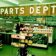 Vintage Advance Auto Parts counter; before computers, when every part was found with catalogs.