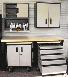 5 Piece Set of Sandstone Metal Storage Cabinets