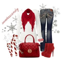 "Love this for the holiday season! ""CandyCane Red..."" by sweetlikecandycane on Polyvore"