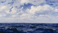 """Henry Moore, R.A. (British, 1831 - 1895) - """"Summer Breeze in the Channel"""", 1893 - Oil on canvas"""