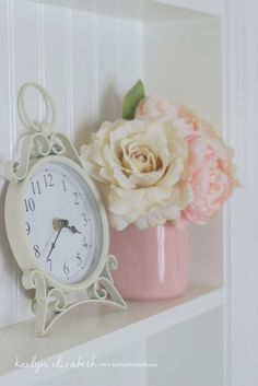 Vintage Clock in this Shabby-Chic Feminine Nursery