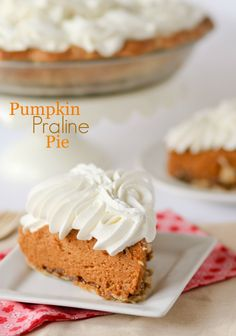 """<p>This fluffy pumpkin pie has a layer of praline on the bottom. Get the recipe <a href=""""http://www.confessionsofacookbookqueen.com/pumpkin-praline-pie/""""><strong>HERE</strong></a>.</p> <p></p>"""