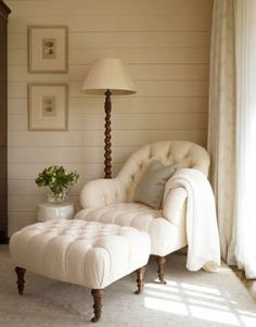 A corner of the room is made soft and inviting by a tufted chair and ottoman from Sherrill Furniture, covered in Hinson's Blizzard Chenille. Luke White  -