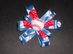 Girls Boutique Hair Bow 60mm French Barrette Clip  Handmade, Baseball bow, Red White and Blue Bow,Hair Bows, Girls Bows, Hair Barrettes by TrendyCharm on Etsy
