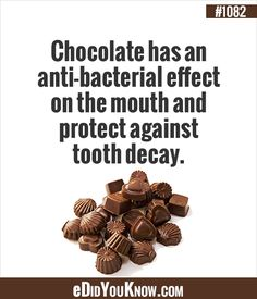 ‎Chocolate‬ has an anti-bacterial effect on the mouth and protect against ‪tooth‬ ‪decay‬. Tooth decay is the destruction of your tooth ‪enamel‬, the hard, outer layer of your ‪‎teeth‬. How To Know, Did You Know, Dental Photos, Dental Images, Dental Fun Facts, Chocolate Humor, Chocolate Lovers, Dental Humor, Dental Hygienist