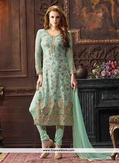 True beauty will come out of your dressing design with this sea green georgette churidar designer suit. The beautiful embroidered and print work a substantial characteristic of this dress. Comes with matching bottom and dupatta. (Slight variation in color, fabric & work is possible. Model images are only representative.)