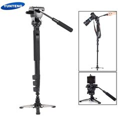 64.99$  Buy here - http://alinbc.worldwells.pw/go.php?t=32754074268 - YUNTENG VCT-588 Extendable Telescoping Monopod with Detachable Tripod Stand Base Fluid Drag Head for DSLR Camera Camcorder