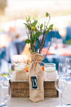 rustic table numbers http://www.weddingchicks.com/2013/10/25/easy-going-wedding/