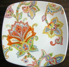 Bright and bold. Perfect for wall cabinet or snack. Square Plate Set, Indochine, Urban Chic, Fine Porcelain, Boho Gypsy, Tablescapes, Boho Chic, Paisley, Plates