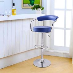 Ideal Shop for Adeco Blue Leatherette Curved Back Adjustable Barstool Chair with u