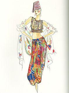 Yves Saint Laurent, sketch, 1991