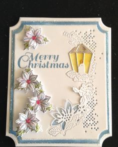 Tattered Lace Melded Die and Heartfelt Creations poinsettia Christmas Candles, Blue Christmas, All Things Christmas, Christmas Trees, Hand Made Greeting Cards, Making Greeting Cards, Xmas Cards, Poinsettia Cards, Heartfelt Creations Cards
