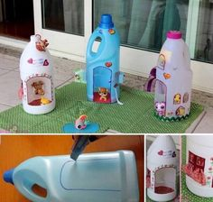 Recycle bottles into mini houses for toys!