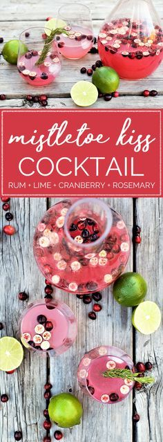 Gorgeous garnet cocktail starring an easy cranberry-rosemary simple syrup with bright, fresh, herby notes alongside white rum & lime juice.