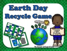 Free Earth Day Recycle Board Game;Celebrate Earth Day by playing this fun Recycle game. Students place the game cards on the trash can or the recycle bin. This is a fun game for any elementary age student. I would appreciate a comment after downloading this free product.