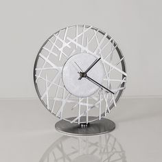 Adore Clock in Silver by Ken Girardini and Julie Girardini: Metal Clock available at www.artfulhome.com