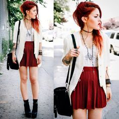 Skirt: le happy, punk, rock, grunge, red skirt, style, jacket, bag ...