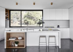 The Two Pavilions House is a striking modern timber-clad home set within the rural landscape of Phillip Island. Home Decor Kitchen, Kitchen Interior, Kitchen Ideas, Clad Home, Stone Backsplash, Cuisines Design, Concrete Floors, Plywood Floors, Concrete Lamp