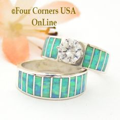 wedding rings silver Size 7 Turquoise Inlay Opal Wedding Engagement Ring Set Navajo Ella Cowboy Four Corners USA OnLine Navajo Silver Jewelry Pretty Wedding Rings, Wedding Bands For Her, Engagement Wedding Ring Sets, Pretty Rings, Engagement Ring Settings, Navajo, Alternative Wedding Rings, Native American Rings, Unique Rings