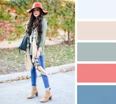 10 сочетаний цветов для шапок и шарфов.
