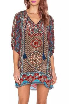 Fashionable Plunging Neck Long Sleeve Colorful Printed Chiffon Dress For Women Print Dresses | RoseGal.com Mobile