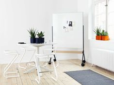 Magnetic office whiteboard with casters DRAFT by Abstracta