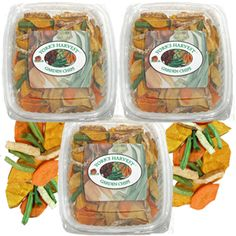 3-5oz trays of our assorted Vegetable Chips. Assorted Vegetable Chips contain Sweet Potato, Taro Root, Squash, Carrots and Green Beans.
